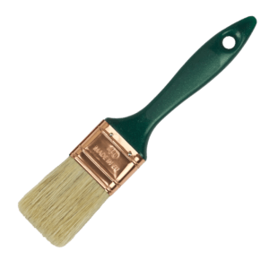 flat paint-brush blonde bristles plastic handle